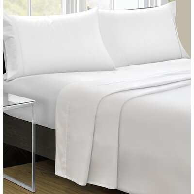 Cowden 4 Piece Solid 350 Thread Count 100% Cotton Sheet Set Size: Queen, Color: White