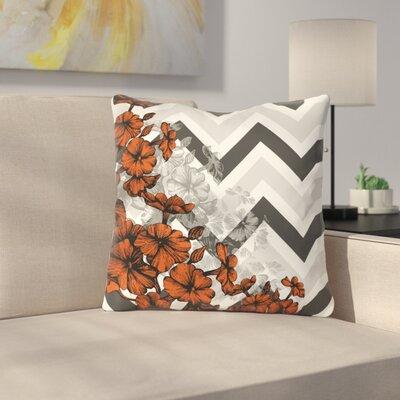 Santini Chevron Floral Throw Pillow Color: Orange, Size: 18 x 18