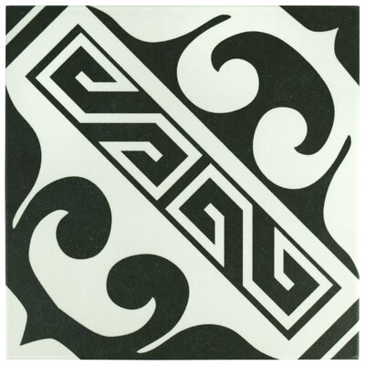 Seni Versalles 9.75 x 9.75 Porcelain Field Tile in Black