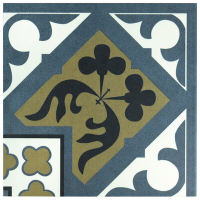 Seni Orleans Angulo 9.75 x 9.75 Field Porcelain Tile in Blue