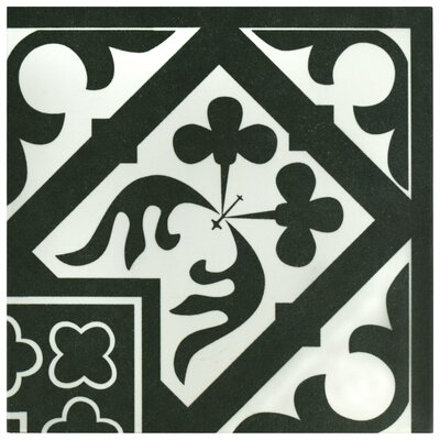 Seni Orleans Angulo 9.75 x 9.75 Porcelain Field Tile in Black