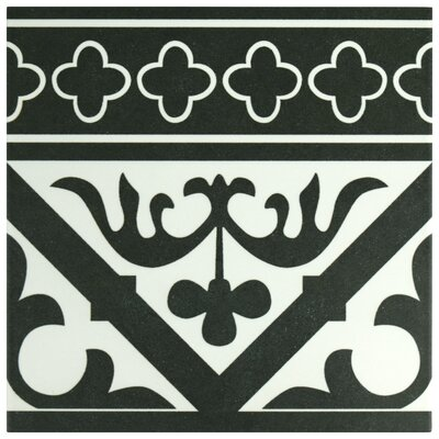 Seni Orleans Cenefa 9.75 x 9.75 Porcelain Field Tile in Black