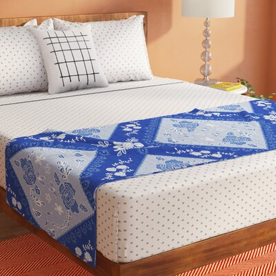 Anneline Sophia Diamonds Bed Runner Color: Blue/Aqua