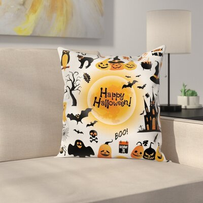 Halloween Decor Happy Ghost Square Pillow Cover Size: 16 x 16