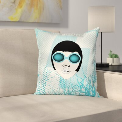 Retro Woman Sunglasses Square Cushion Pillow Cover Size: 24 x 24