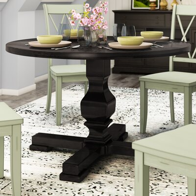 Bloomingdale Round Pedestal Dining Table Finish: Black