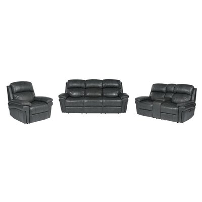 Dipasquale Luxe Leather 3 Piece Reclining Living Room Set