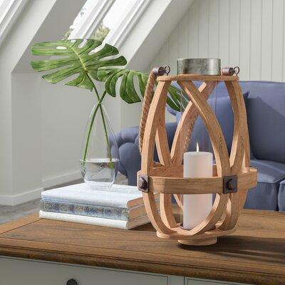 Oval Brown Wood Lantern