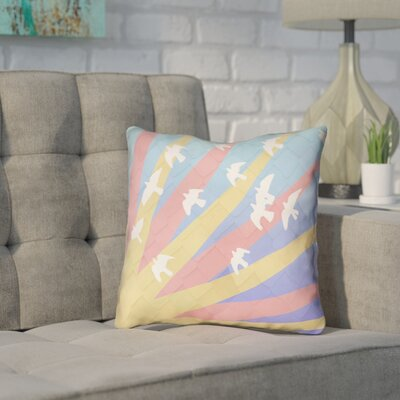 Enciso Birds and Sun Faux Leather Pillow Cover Color: Pink/Yellow/Blue, Size: 16 H x 16 W