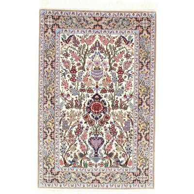 Persian Genuine Isfahan Hand-Knotted Ivory/Beige Area Rug