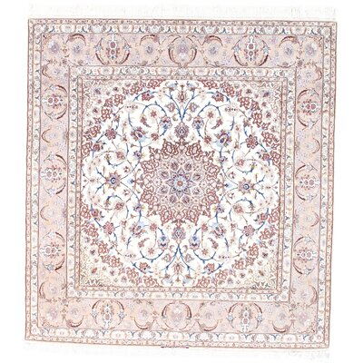 Persian Genuine Isfahan Hand-Knotted Ivory/Brown Area Rug