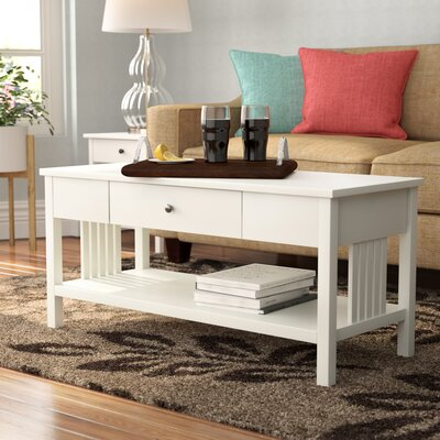 Bechtel Mission Style Wood Coffee Table Color: Polar White