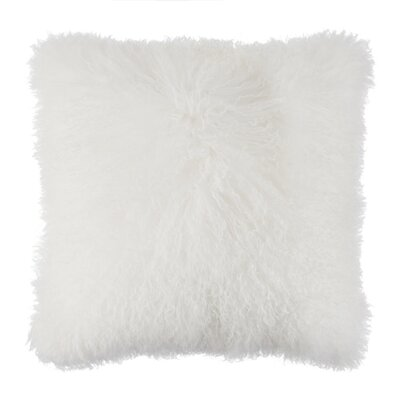 Ewalt Decorative Lambs Wool Throw Pillow Color: White