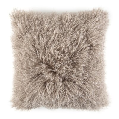 Ewalt Decorative Lambs Wool Throw Pillow Color: Taupe