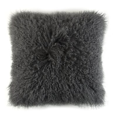 Ewalt Decorative Lambs Wool Throw Pillow Color: Charcoal