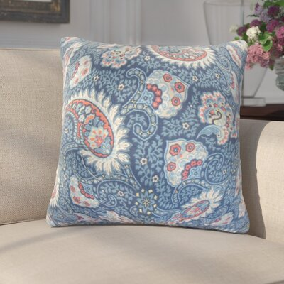 Kayli Paisley Cotton Throw Pillow Color: Marine
