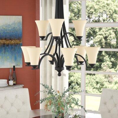 Bushmills 9-Light Shaded Chandelier Finish: Blacksmith, Shade Color: Caf�