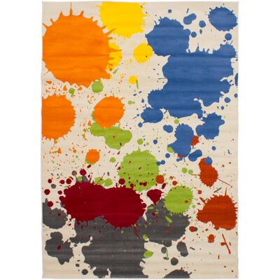Maclean Ivory/Blue/Orange Area Rug