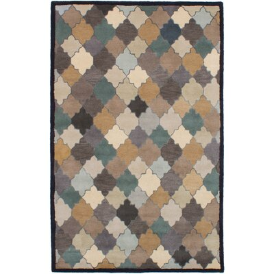 Partain Hand-Tufted Tan/Teal Area Rug