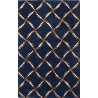 Helton Hand-Tufted Navy Blue Area Rug