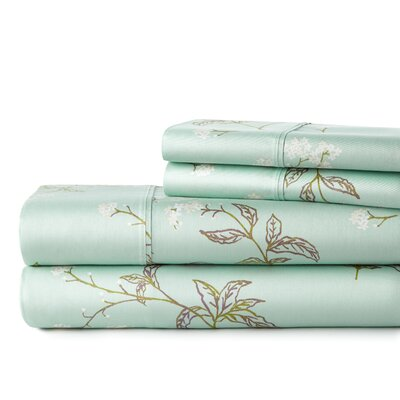 Fulmer Briteyarn Extra Deep Pocket 300 Thread Count 100% Cotton Sheet Set Size: California King, Color: Green