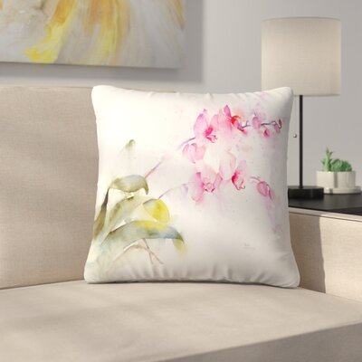 Pink Orchid Throw Pillow Size: 16 x 16