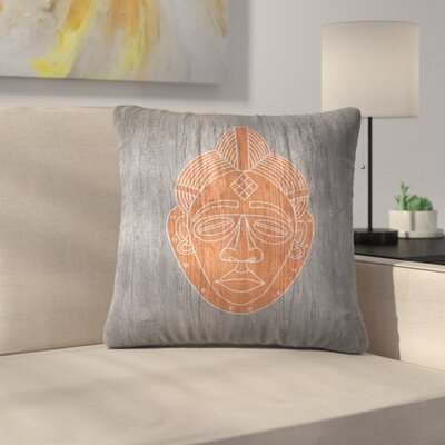 African Mask Black Throw Pillow Size: 18 x 18, Color: Orange