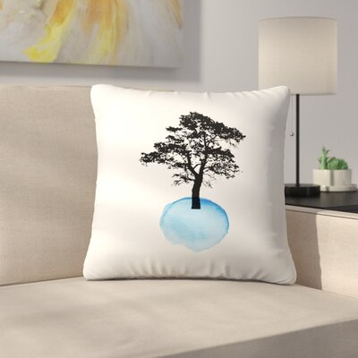 Blue Tree Throw Pillow Size: 18