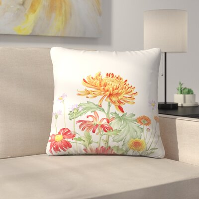 Chrysanthemum Card Throw Pillow Size: 16 x 16