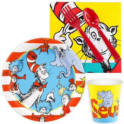 85 Piece Dr. Seuss Paper and Plastic Classics Snack Pack Set 266616