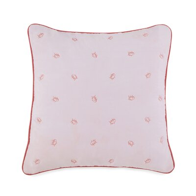 Skipjack Square Cotton Throw Pillow Color: Coral