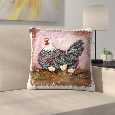 Olena Art Hen with Chicks Fresco Throw Pillow Size: 18x18