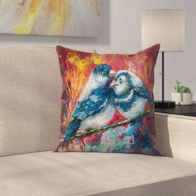 Olena Art Love Birds Throw Pillow Size: 16 x 16