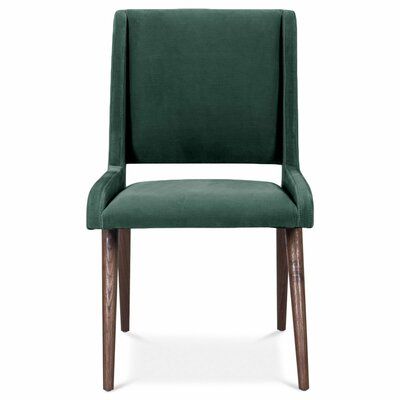 Mid Century Upholstered Dining Chair Upholstery Color: Hunter Green, Leg Color: Dark Walnut