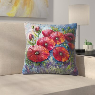 Olena Art Bella Fresca Poppies 2 Throw Pillow Size: 14 x 14
