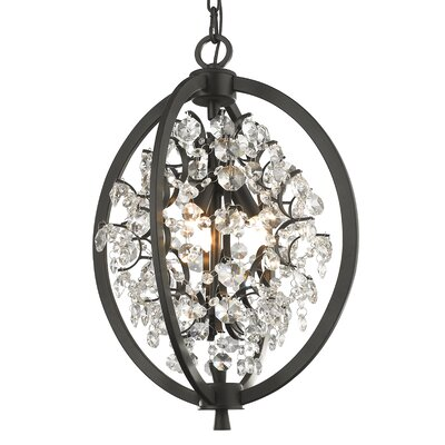 Mercuri 3-Light Crystal Pendant Finish: Painted Bronze