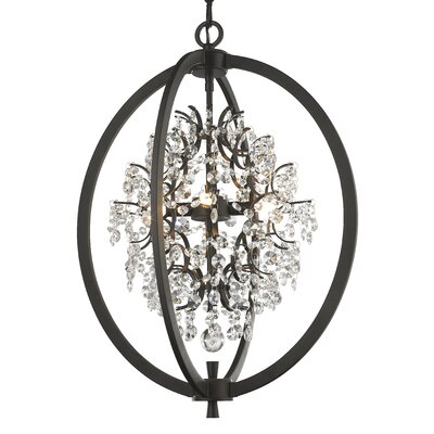 Merideth 4-Light Crystal Pendant Finish: Dark Bronze