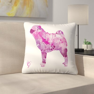 Pug Silhouette Throw Pillow Size: 18 x 18