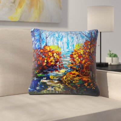 Olena Art Misty Path Throw Pillow Size: 16 x 16