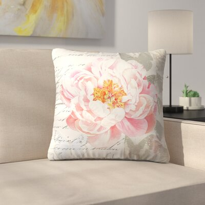 Peach Peony Butterflies Throw Pillow Size: 18 x 18