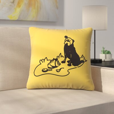 Curious Hound Of Baskervilles Throw Pillow Size: 18 x 18