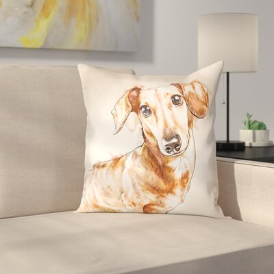 Wethington Watercolor Dachshund Throw Pillow