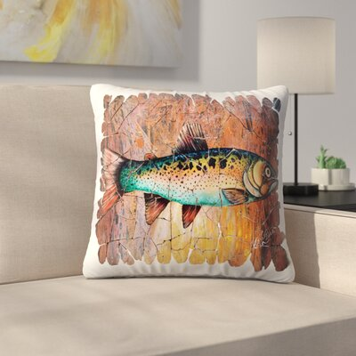 Olena Art Trout Fresco Throw Pillow Size: 16 x 16