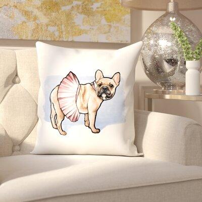 Short Pink Tutu Frenchie Throw Pillow