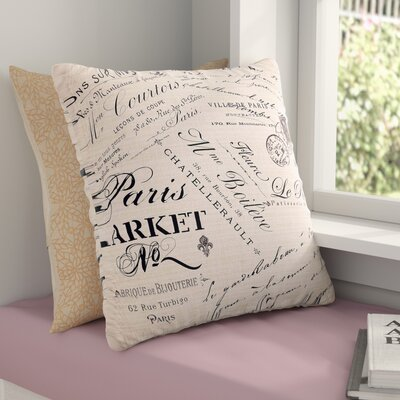 Sylvia Cook French Script Handwriting Outdoor Throw Pillow Size: 16 H x 16 W x 5 D