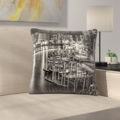 Venice View From Rialto Bridge Throw Pillow Size: 18 x 18