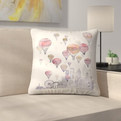 Voyages Over Santa Monica Throw Pillow Size: 16 x 16