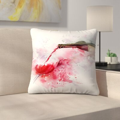Red Wine Pour Throw Pillow Size: 16 x 16