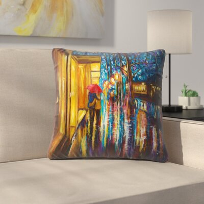 Olena Art Love in the Rain Throw Pillow Size: 18 x 18