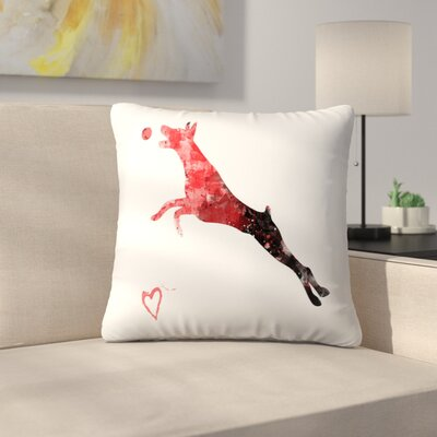 Doberman Pinscher Silhouette Throw Pillow Size: 16 x 16